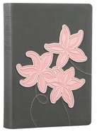 NLT Compact Large Print Bible Grey Pink Flowers (Red Letter Edition)
