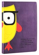 NLT Kids Slimline Bible Matthew 7: 8 Purple/Yellow Owl Wisdom (Red Letter Edition) Imitation Leather