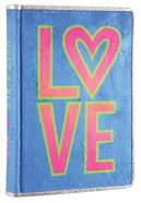 NLT Girls Slimline Bible Blue/Neon Fur Love (Red Letter Edition) Fabric