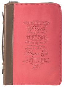 Bible Cover I Know the Plans Jer. 29:11 Pink Large Fashion Debossed Luxleather