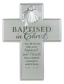 Cross: Baptism: Silver Satin Metal With Raised Symbol