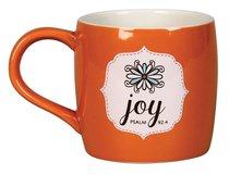 Ceramic Mug: Filled With Joy W/10 Scripture Cards (Orange/white)