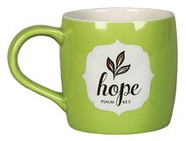 Ceramic Mug: Filled With Hope, W/10 Scripture Cards (Lime/white)