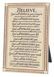 Word Study Plaque: Believe God Will (18cm X 27cm)