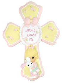 Precious Moments Cross: Girl, Jesus Loves Me, Yellow/Pink/White