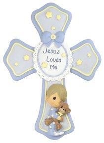 Precious Moments Cross: Boy, Jesus Loves Me, Blue/Yellow Stars/White