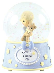 Precious Moments Figurine: Baby Boy With Teddy, Jesus Loves Me Musical Water Globe