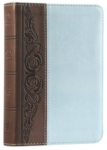 KJV Large Print Compact Bible Brown/Blue Duotone Simulated Leather
