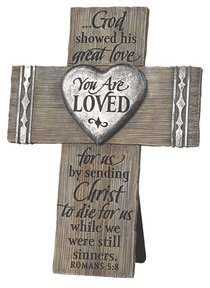 Cross Cast Stone: You Are Loved Power of the Cross Booklet Included (Romans 5:8)