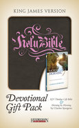 KJV Devotional Gift Pack Brown With Pink Stamping Pack