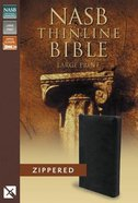 NASB Thinline Zippered Large Print Bible Black (Red Letter Edition) Bonded Leather
