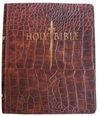 Kjver Thinline Large Print Indexed Bible Walnut Alligator