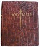 KJV Sword Study Personal Size Giant Print Indexed Bible Walnut Alligator Imitation Leather