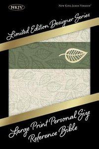 NKJV Large Print Personal Size Reference Bible Designer Series Linen Leaves