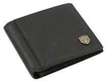 Mens Genuine Leather Wallet: Black With Cross
