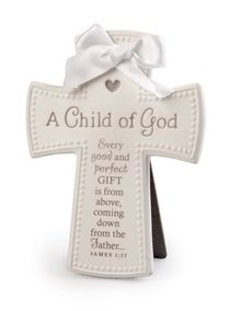 Cross Ceramic: Baby Child of God White With White Satin Ribbon (James 1:17)