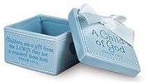 Baby Child of God: Keepsake Box Blue With White Satin Ribbon (Psalm 127:3)