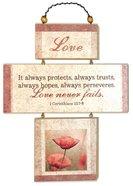 Cross Shaped Three Piece Mdf Wall Plaque: Love, 1 Corinthians 13:7-8 (Crosswords) Plaque