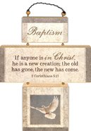 Cross Shaped Three Piece Mdf Wall Plaque: Baptism, 2 Corinthians 5:17 (Crosswords) Plaque