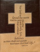 Bible Cover Classic Large: John 3:16 Cross Brown/Tan Bible Cover