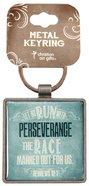 Metal Keyring: Finishing Strong: Let Us Run With Perseverance (Turquoise)