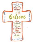 Cross Embroidered: Believe Orange/Yellow/Blue/White (Romans 15:13)