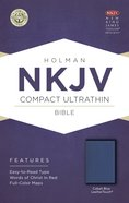 NKJV Compact Ultrathin Red Lettered Bible Cobalt Blue Leathertouch Imitation Leather