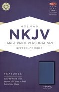 NKJV Large Print Personal Size Red Lettered Reference Bible Cobalt Blue Leathertouch Imitation Leather