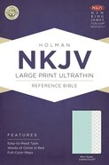 NKJV Large Print Ultrathin Red Lettered Reference Bible Mint Green Leathertouch Imitation Leather