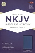 NKJV Large Print Ultrathin Reference Bible Cobalt Indexed (Red Letter Edition) Imitation Leather