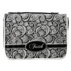 Bible Cover Micro-Fiber: Black Paisley Faith Medium Bible Cover