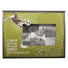 Wooden Photo Frame: Soccer I Can Do All Things Through Christ (Phil 4:13)