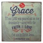Wooden Block Plaque: Grace (Grey)