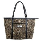 Brown Quilted Paisley Tote Bag: Faith (2 Corinthians 5:7)