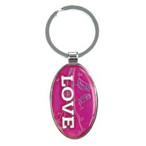 Glitter Keyring: Love Pink