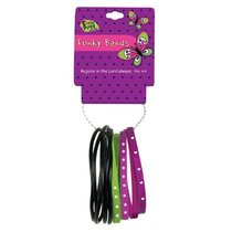 Funky Bands Laedee Bugg Black, Green & Purple, Wear Them as Wrist Bands Or Hair Bands