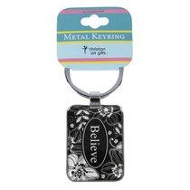 Metal Keyring: Believe Black & White Floral