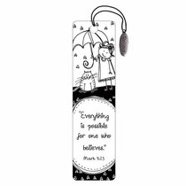 Bookmark: Believe Charm Black and White