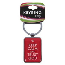 Metal Keyring: Keep Calm and Trust God Red