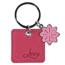 Luxleather Keyring With Charm: Love Pink