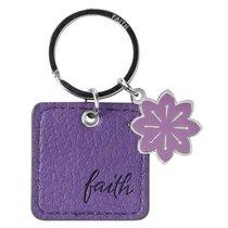 Luxleather Keyring With Charm: Faith Purple