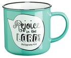 Stoneware Mug: Rejoice in the Lord Phil 4:4 (Green/white)