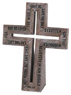 Barn Wood Cross: Small Cast Stone Cross (John 3:16) Plaque