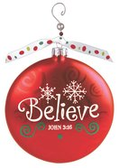Christmas Glass Swirl With Beaded Hanger Ornament: Believe, Red (John 3:16)