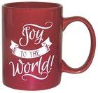Ceramic Glazed Christmas Mug: Joy to the World (Red/white)