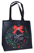 Glittery Christmas Eco Tote Bag: Rejoice Christ is Born! (Black/green/red)