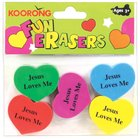 Eraser Pack:5 Heart Shape Erasers, Jesus Loves Me