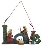 Resin Knitted Finish Holy Family Tree Ornament: Love Homeware