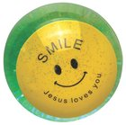 Water Ball Bouncy Ball With Green Glitter: Jesus Loves You, 6.5cm Novelty