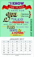 2017 Mini Magnetic Calendar: I Know The Plans I Have For You (Jeremiah 29:11)